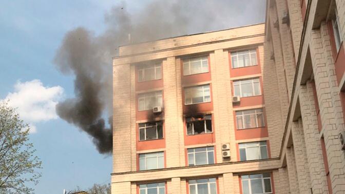Загорелось здание РГУ нефти и газа на Ленинском проспекте