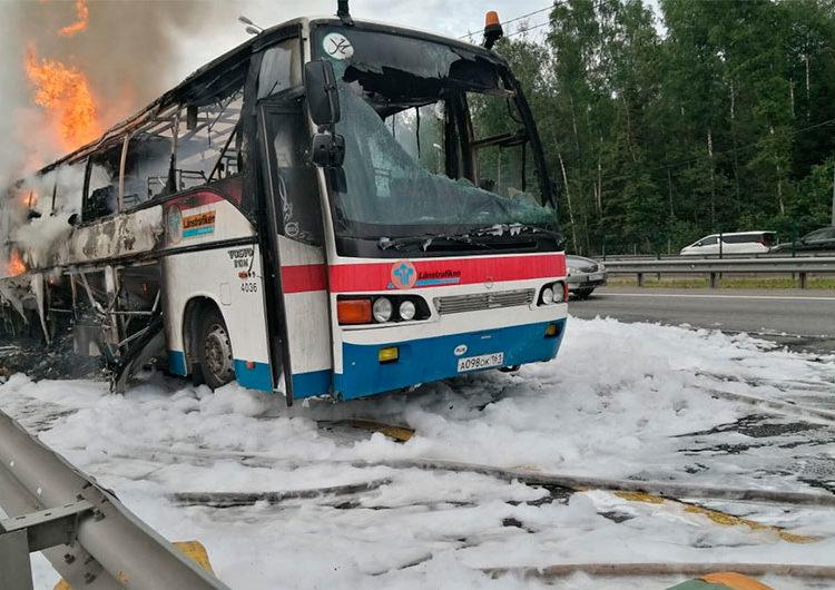 В Домодедово сгорел автобус, следовавший в Дагестан